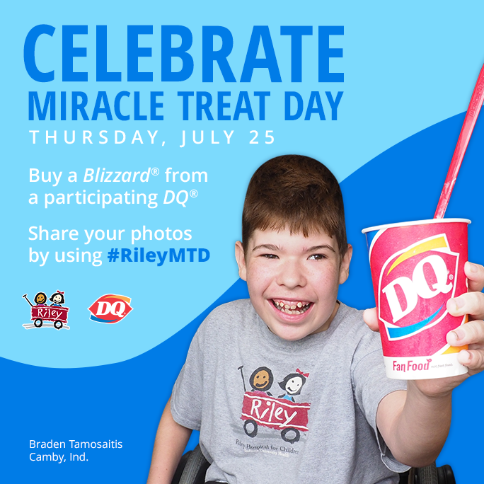 Dairy Queen Miracle Treat Day fundraiser benefits Riley Hospital for Children