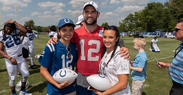 Dominic, Trissa and Andrew Luck at Colts Training Camp